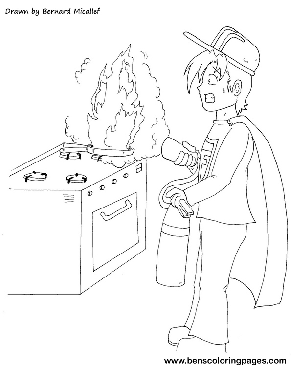 Free coloring pages of kitchen safety for 5 kitchen safety hazards
