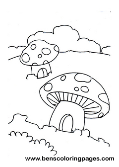 Mushroom house coloring page for Smurf house coloring pages